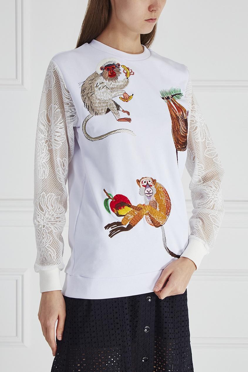 KATЯ DOBRЯKOVA Свитшот с вышивкой Three Monkeys Lace