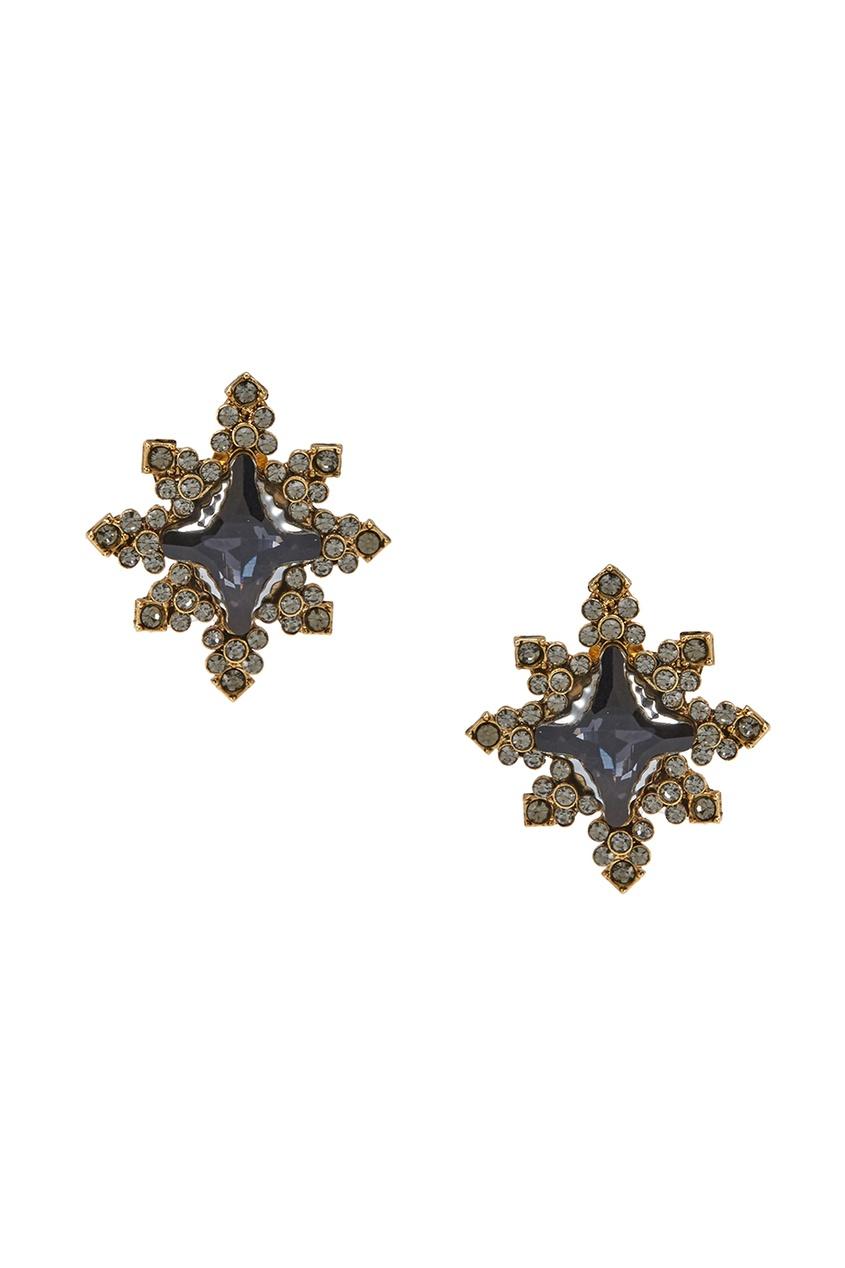 Серьги-пуссеты с кристаллами