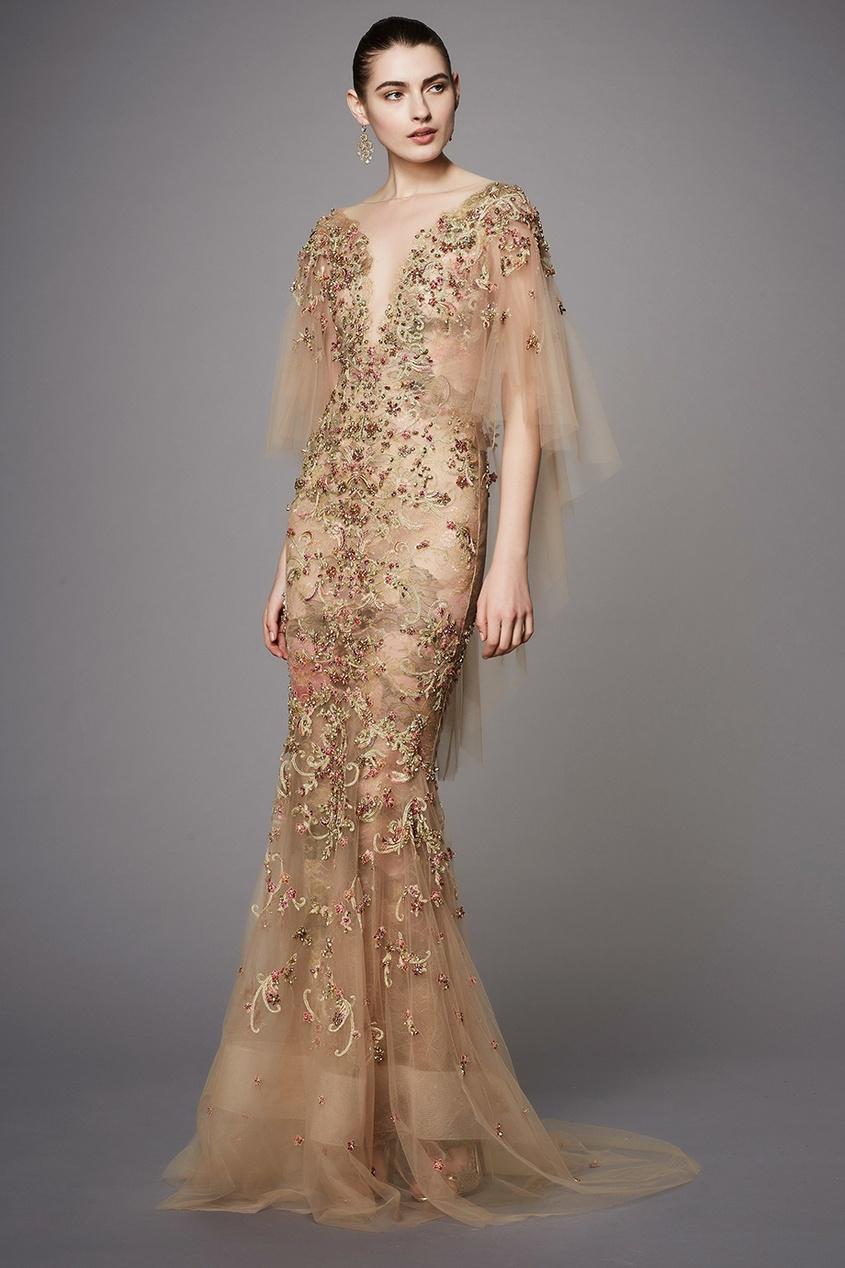 Marchesa Платье из тюля с вышивкой marchesa notte короткое платье