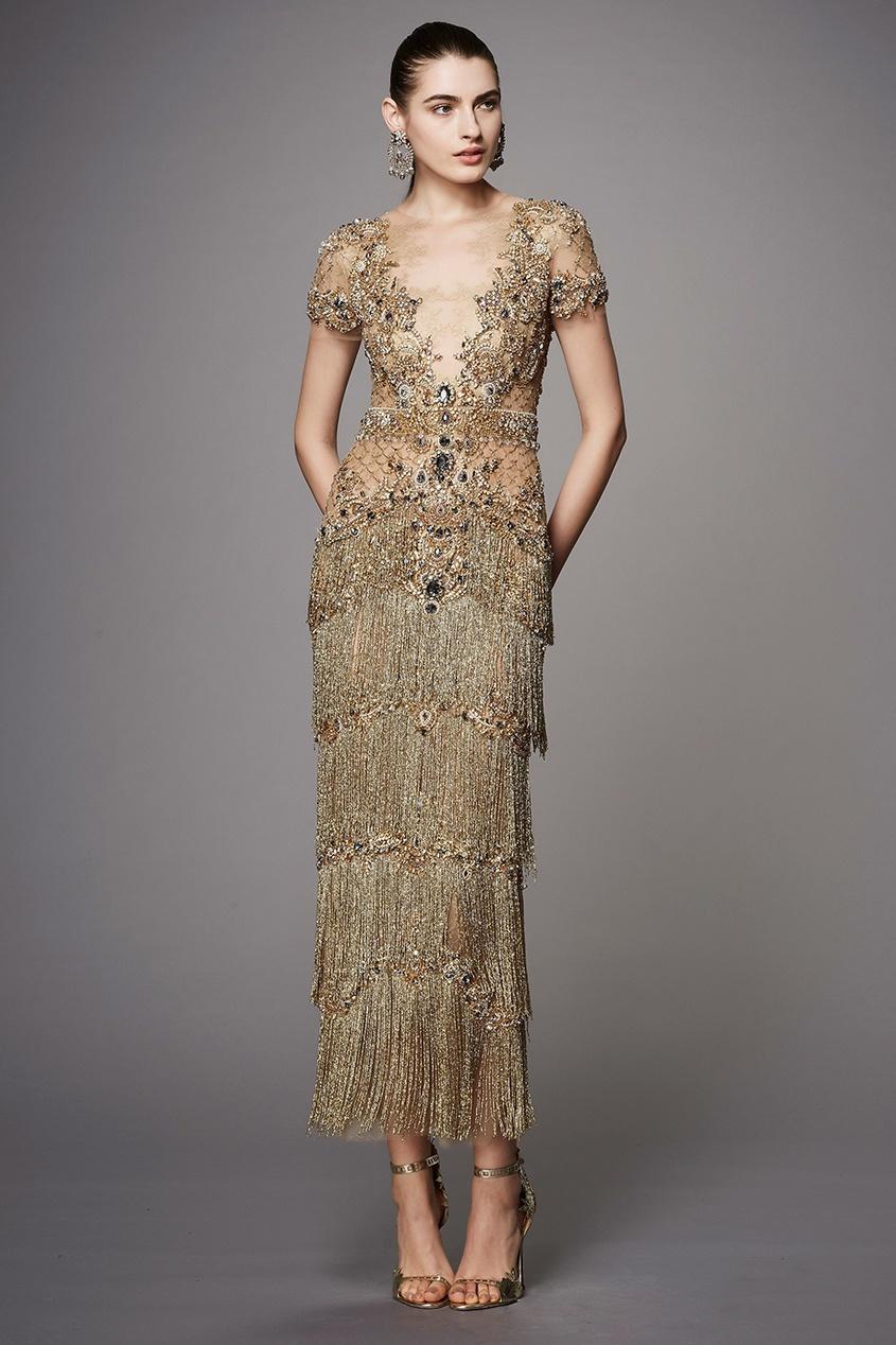 Marchesa Платье из тюля с бисером и кристаллами marchesa notte короткое платье