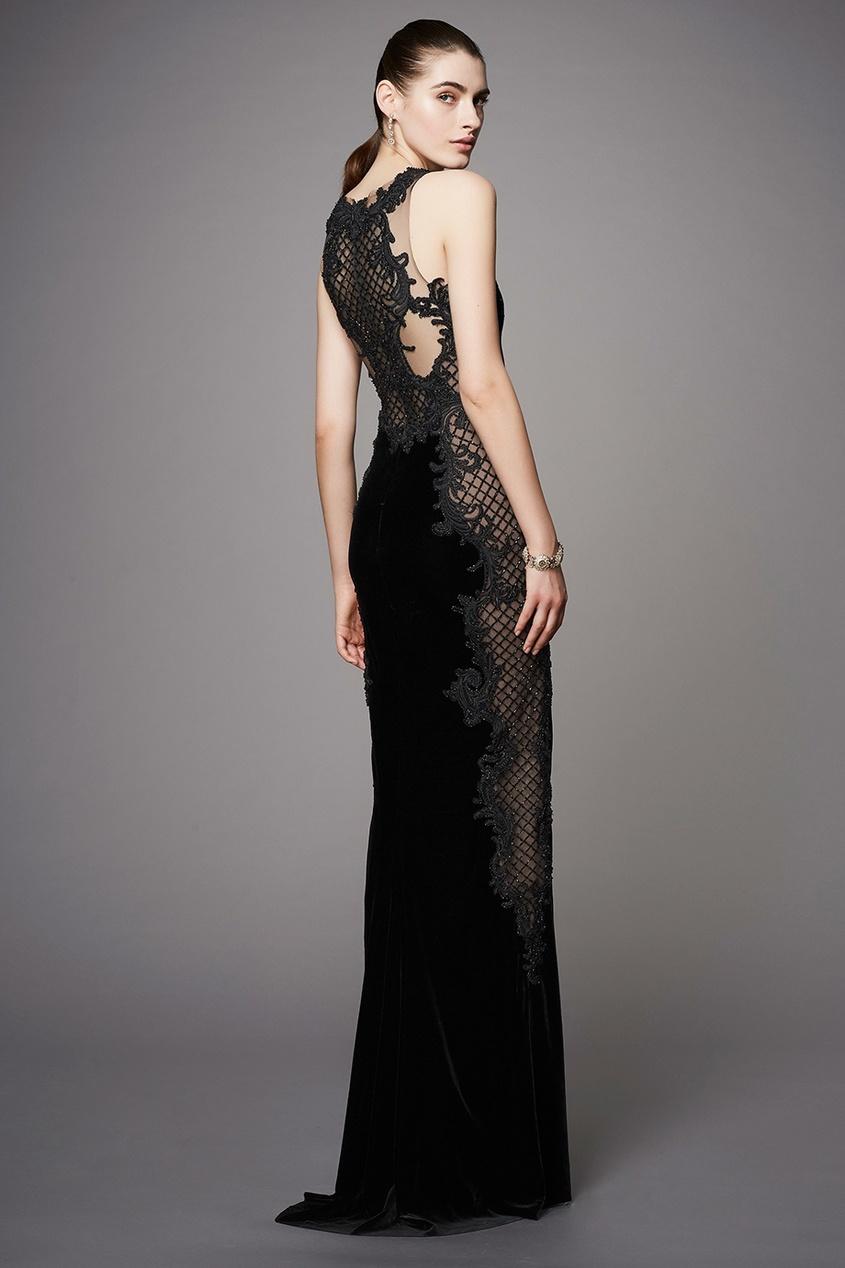 Marchesa Бархатное платье marchesa notte короткое платье