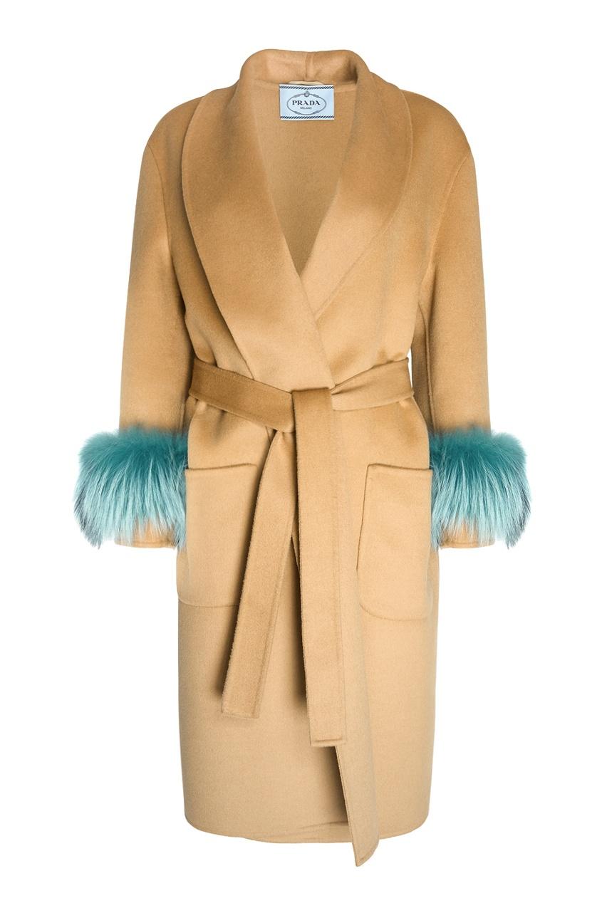 Prada Шерстяное пальто prada черное пальто с меховой отделкой