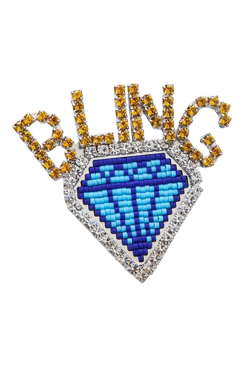 Shourouk Брошь с бисером Diamond