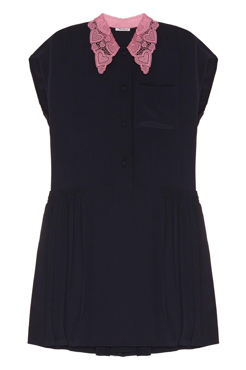 Miu Miu Шелковое платье-рубашка