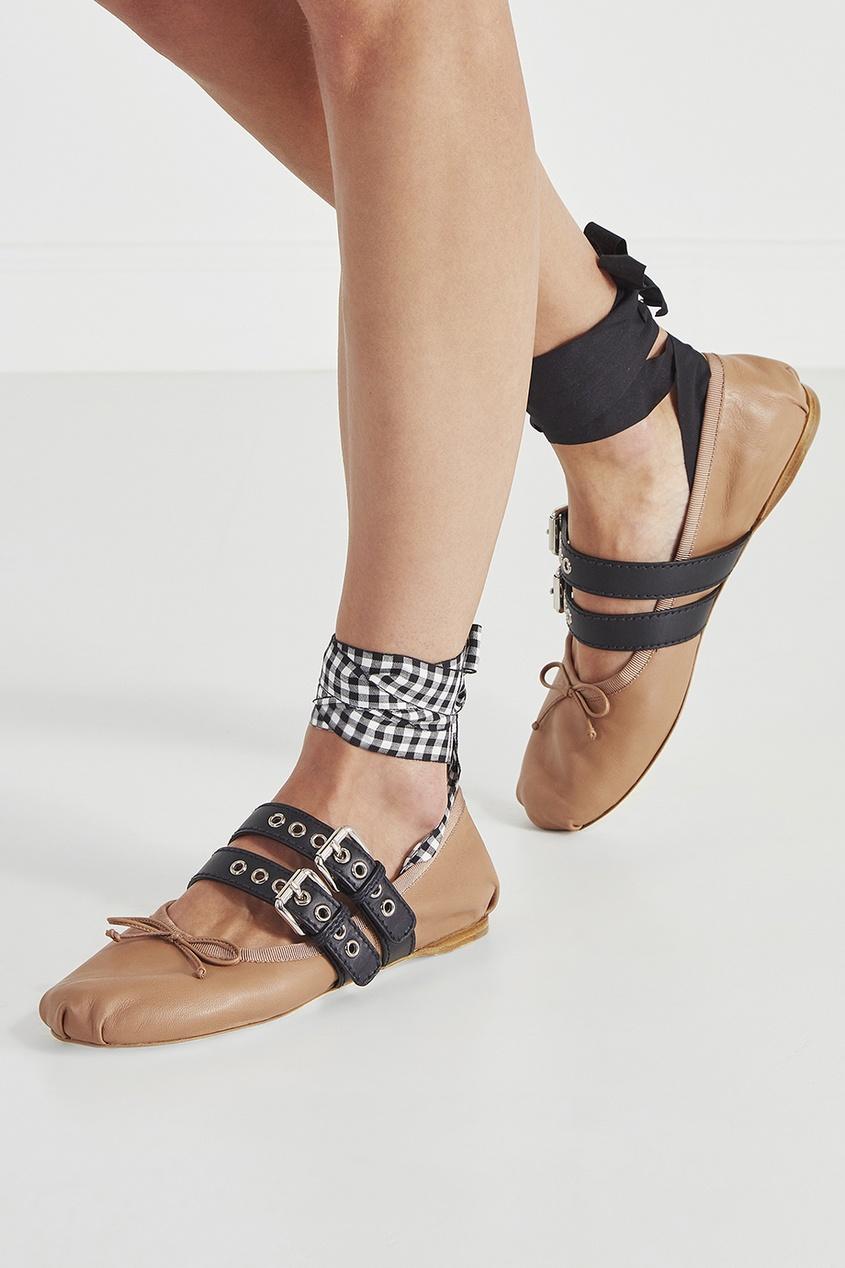 женские балетки miu miu, бежевые