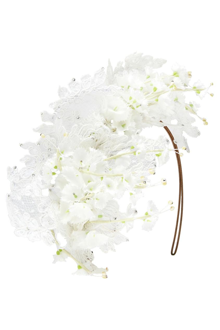 Ободок с цветами и кружевом