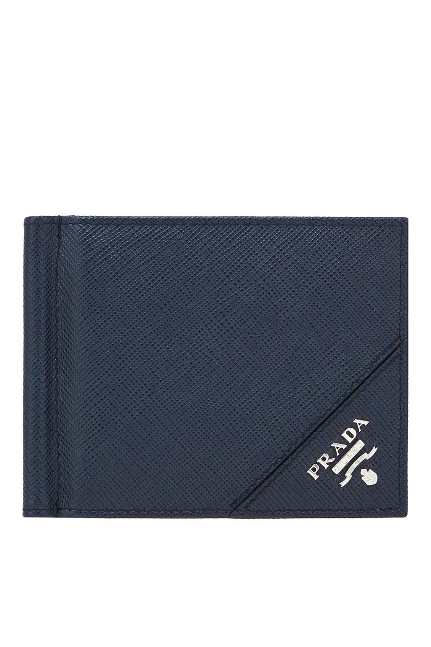 Купить Кожаный кошелек от Prada синего цвета