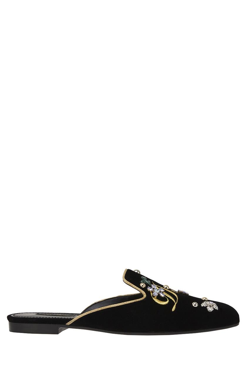 где купить Dolce&Gabbana Слиперы из бархата по лучшей цене