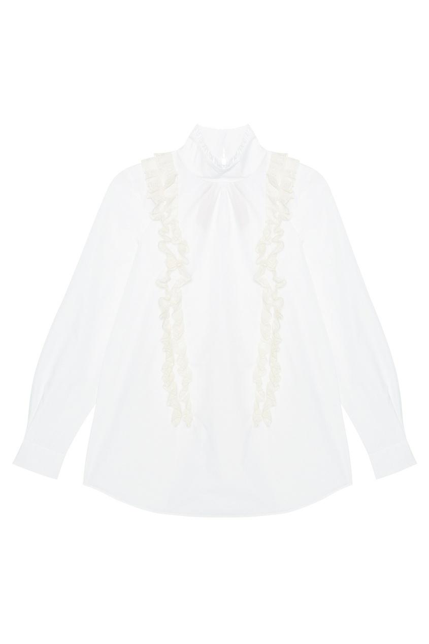 No.21 Хлопковая блузка no 21 хлопковая рубашка с перьями