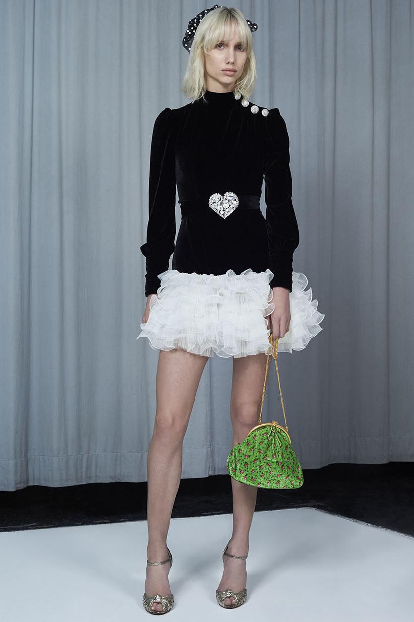 Alessandra Rich Бархатное платье с воланами vivetta бархатное платье с нашивками