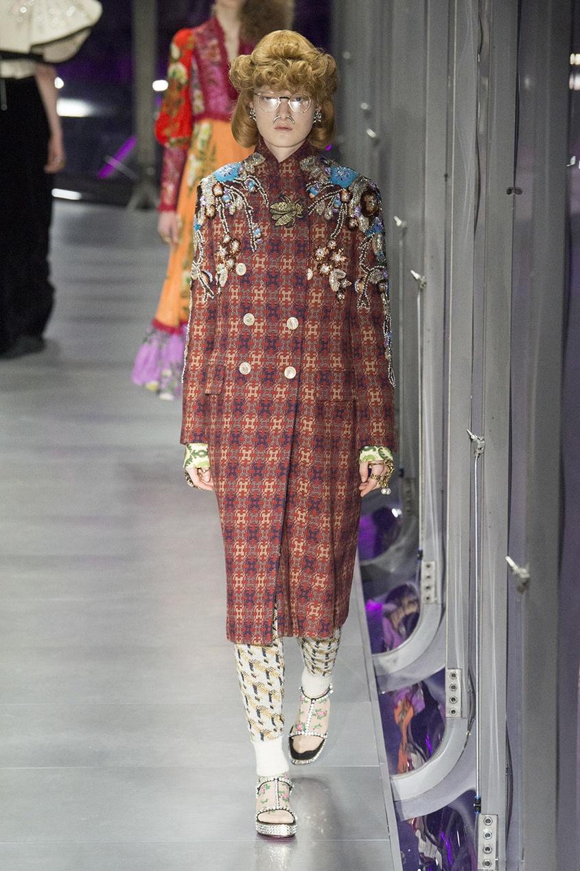 Gucci Шерстяное пальто с вышивкой пайетками
