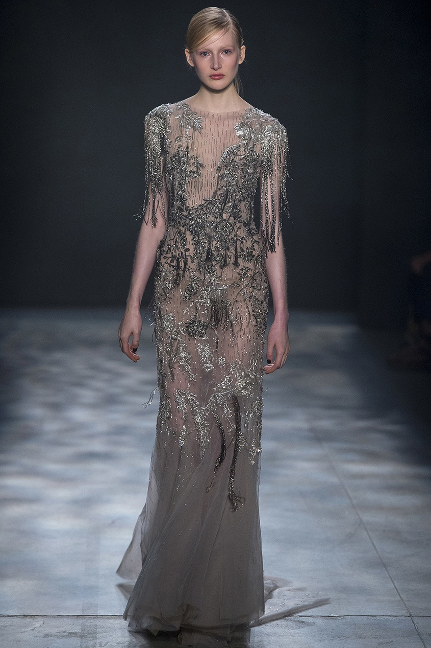 Marchesa Платье с вышивкой