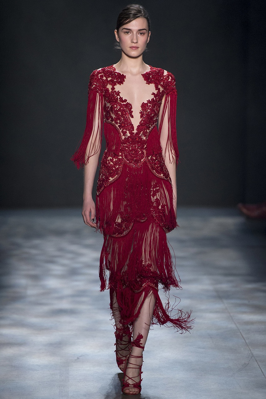 Marchesa Платье с бахромой