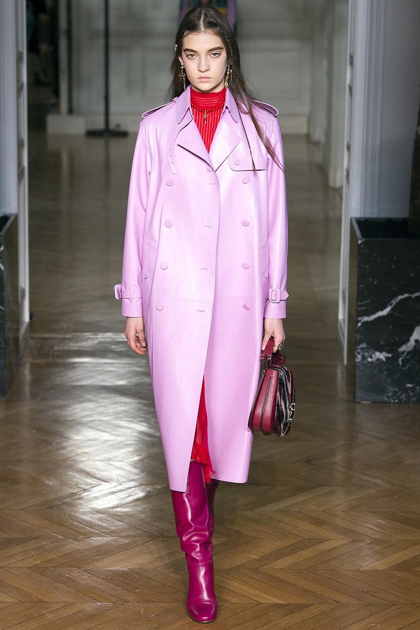 Valentino Розовый тренч из кожи red valentino red valentino тренч с поясом at 168163