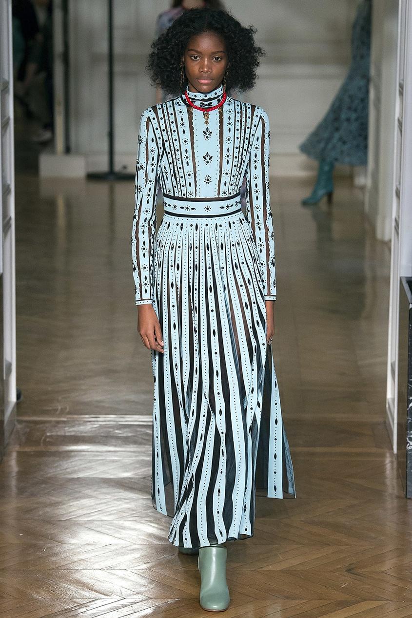Valentino Шелковое платье с вышивкой кристаллами