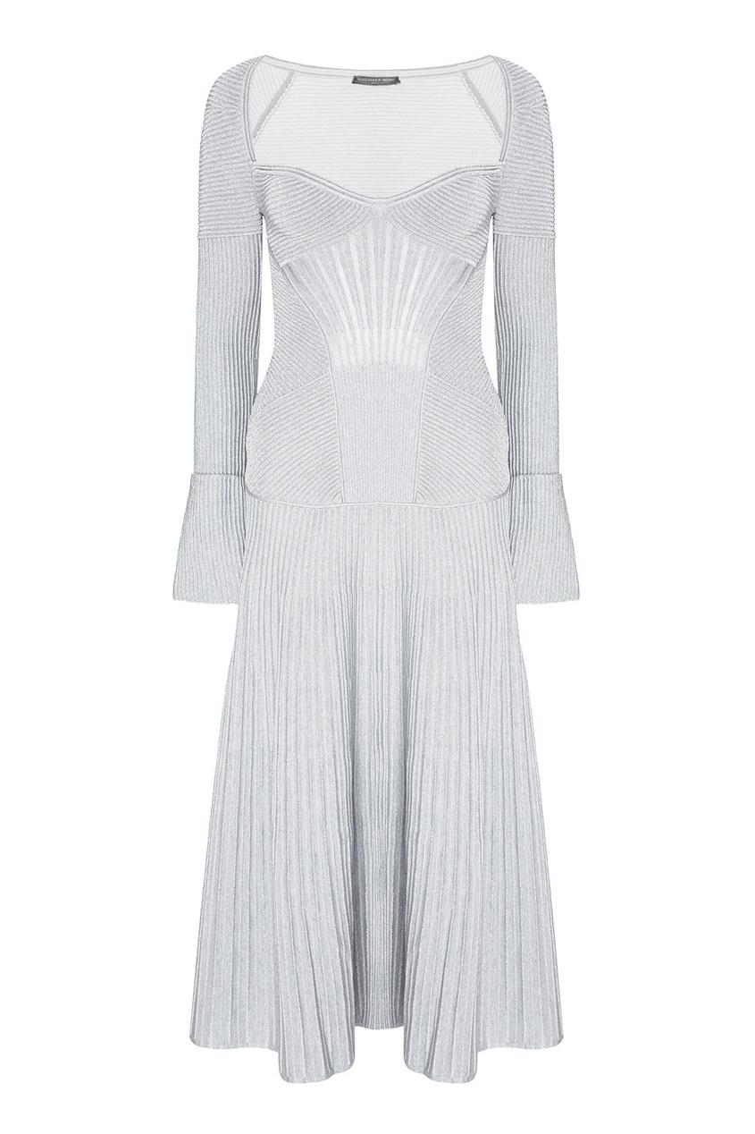 Alexander McQueen Шерстяное платье пальто из шерстяного драпа 70