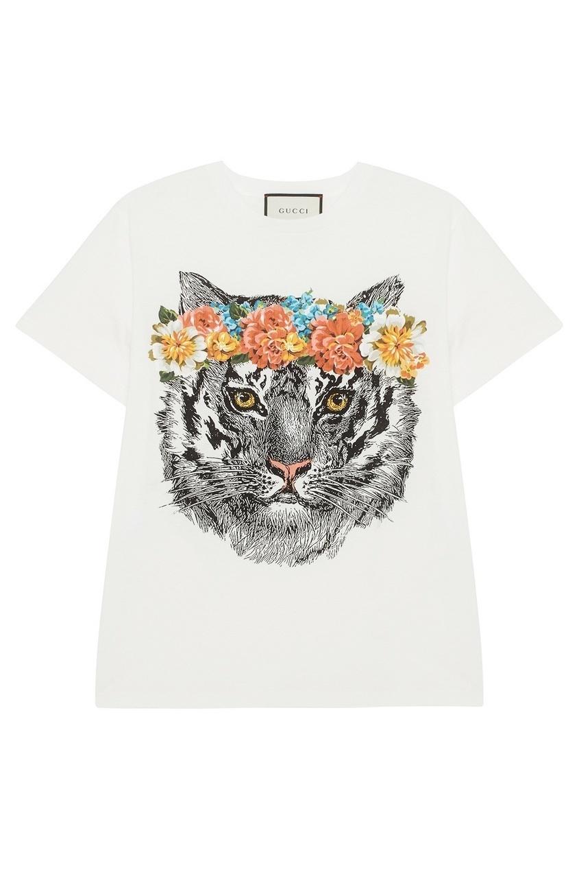 Gucci Хлопковая футболка футболка белая с принтом ido ут 00004169