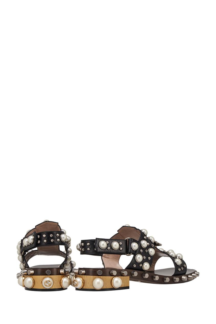 Gucci Кожаные сандалии контейнер для мда в виде пчелы
