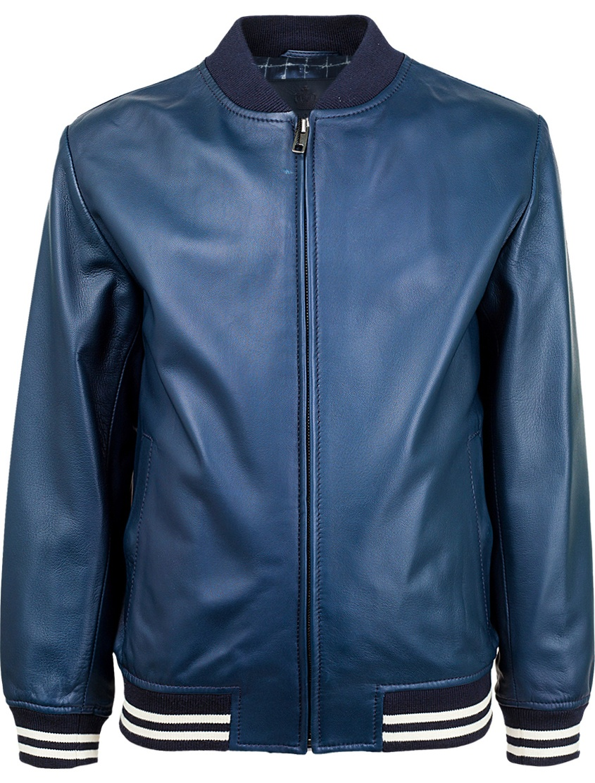 Кожаная куртка Dolce&Gabbana. Цвет: синий