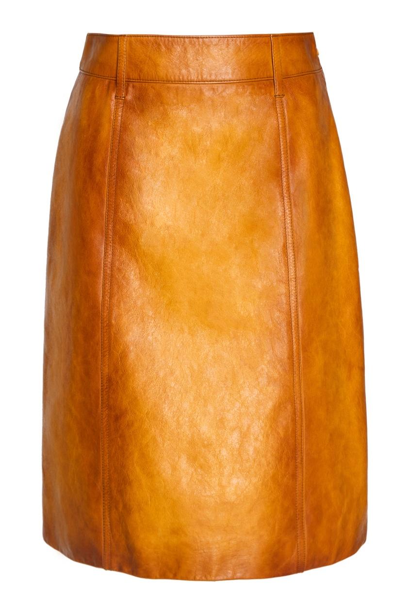 Prada Желтая кожаная юбка