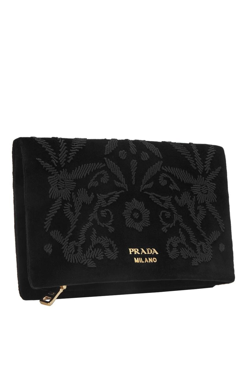 Prada Бархатный кошелек объемная вышивка с бисером