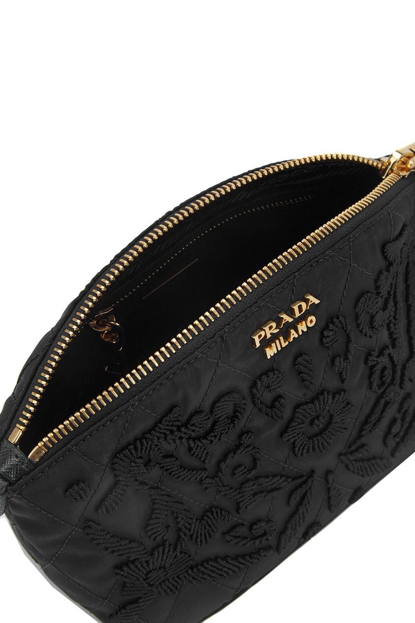 цена Prada Текстильная косметичка онлайн в 2017 году