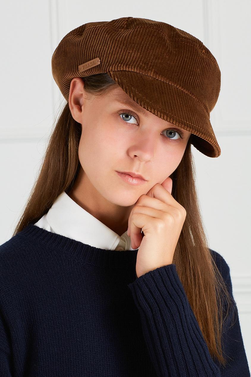 женская кепка prada, коричневая