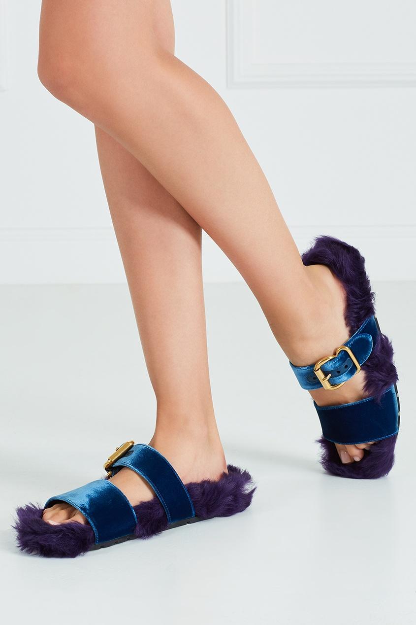 Меховые сандалии