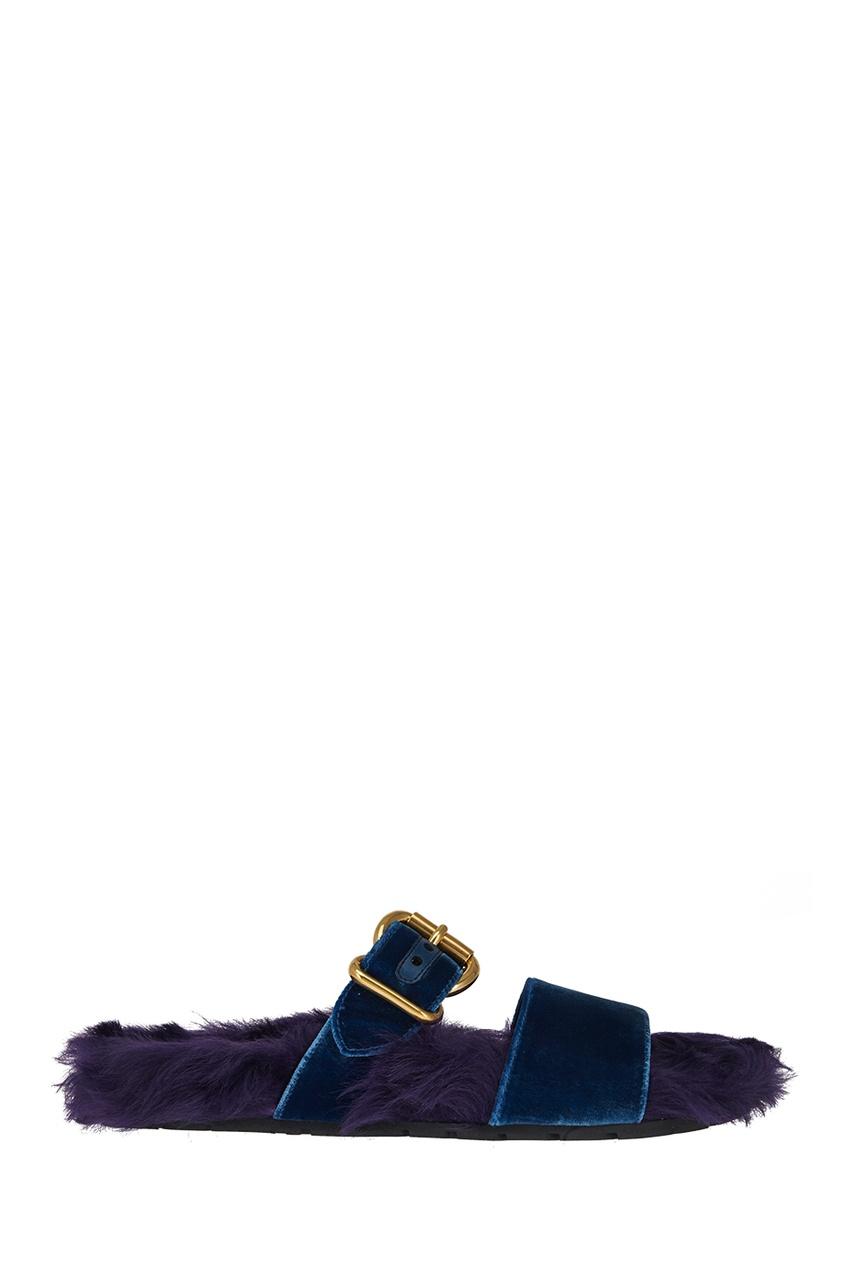 Prada Меховые сандалии prada однотонные сандалии