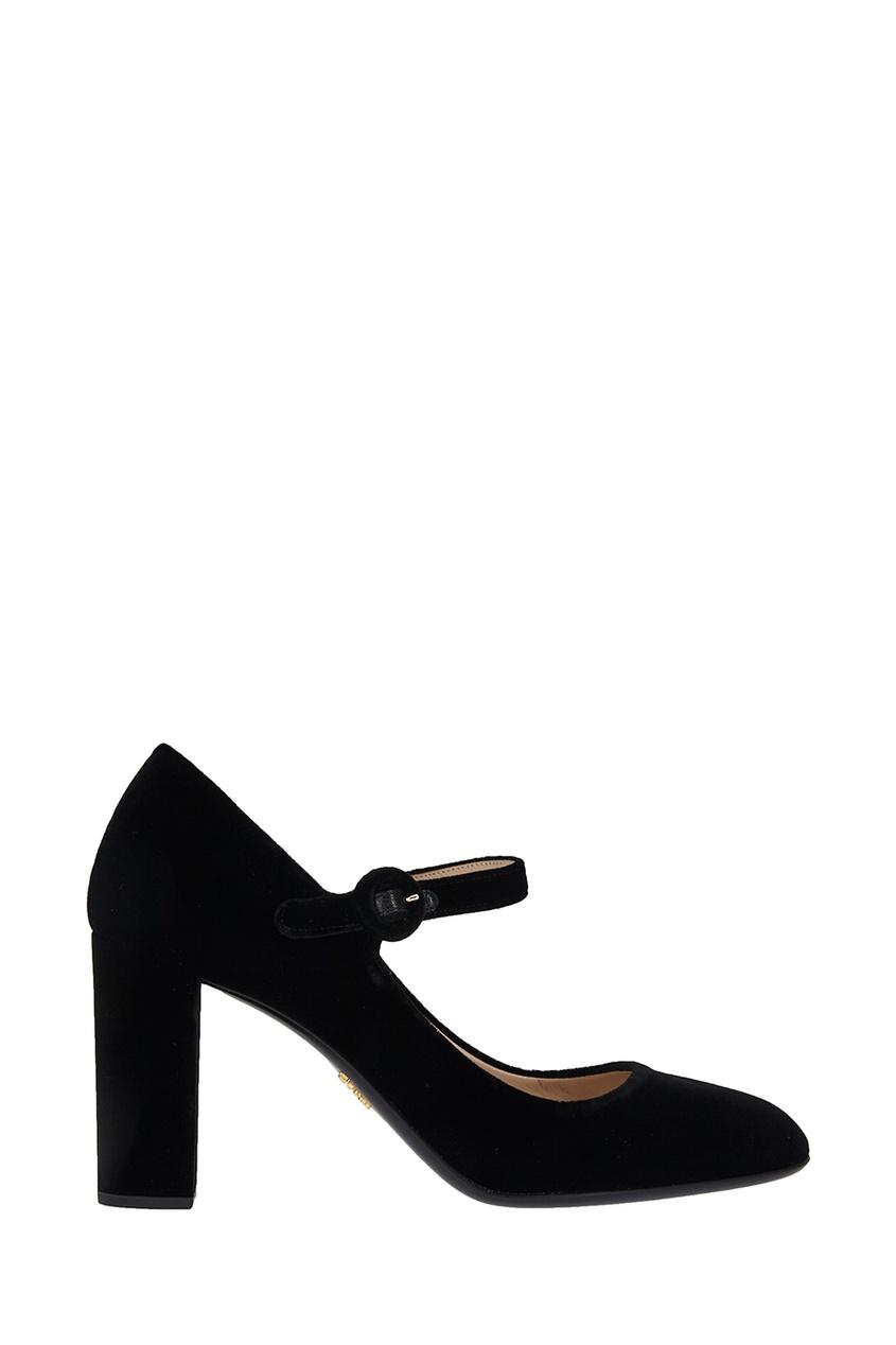 Бархатные черные туфли
