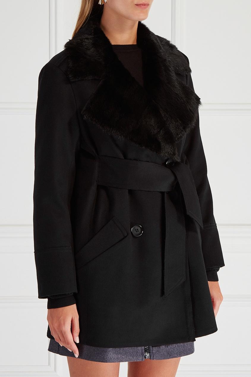 Пальто с мехом белки