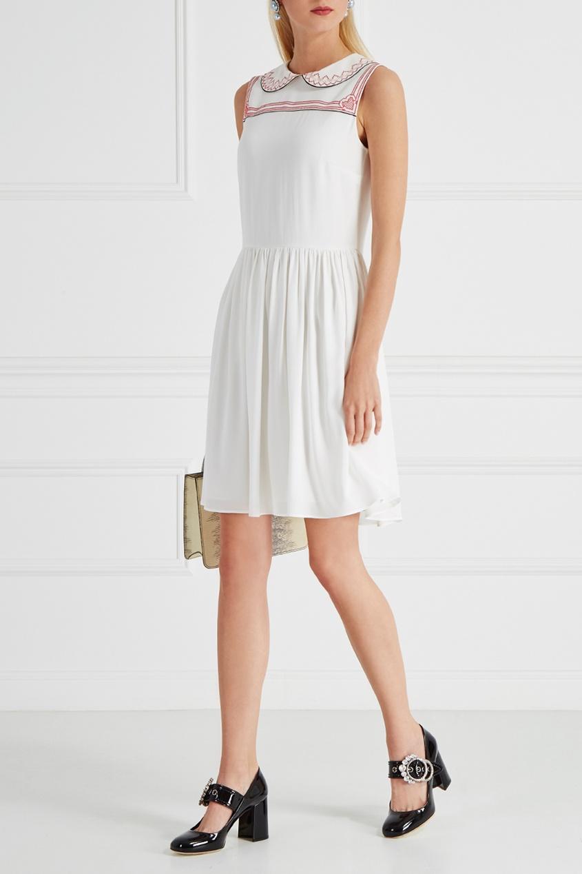 Miu Miu Платье с вышивкой miu miu бархатное платье