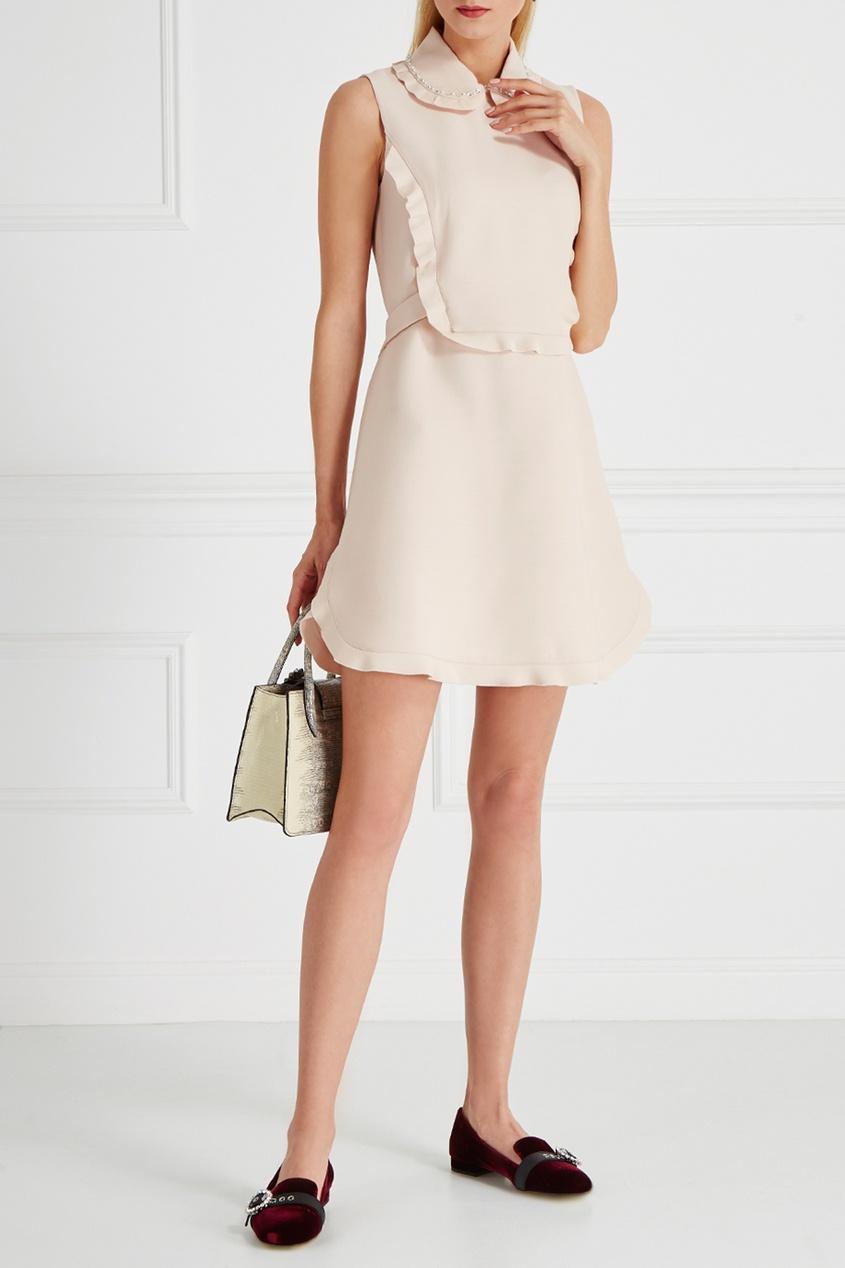 Miu Miu Платье из шерсти и шелка miu miu бархатное платье
