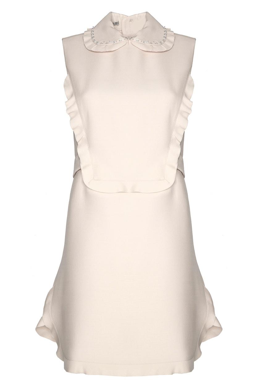 Miu Miu Платье из шерсти и шелка miu miu платье от miu miu 71748