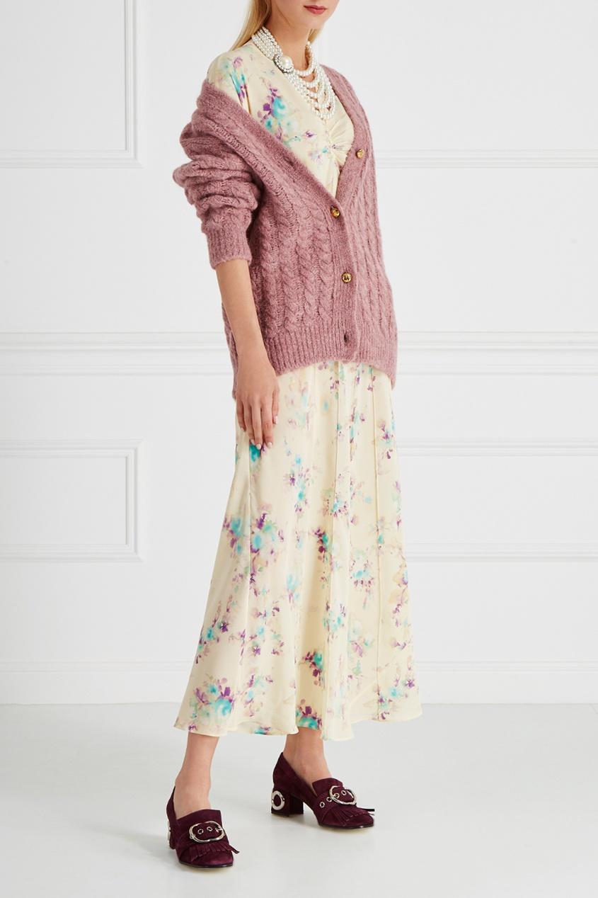 Miu Miu Шелковое платье miu miu бархатное платье