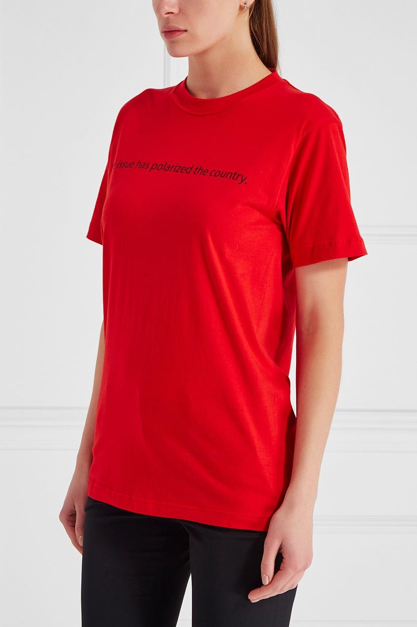 Хлопковая футболка красная