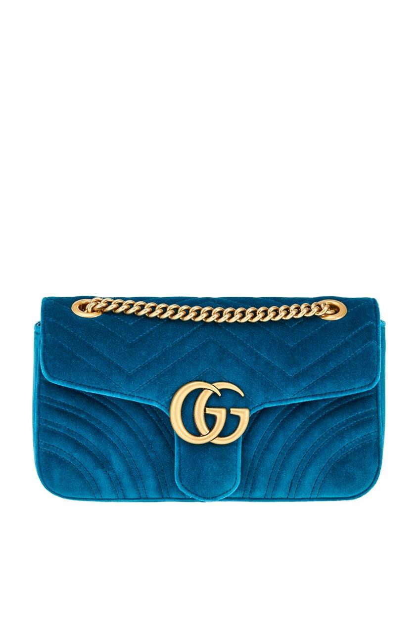 Фото - Бархатная сумка GG Marmont от Gucci синего цвета
