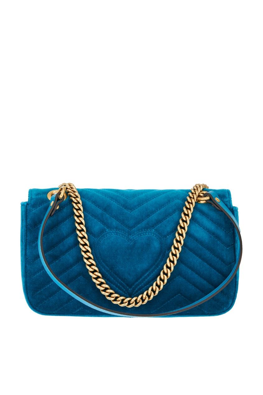 Фото 3 - Бархатная сумка GG Marmont от Gucci синего цвета