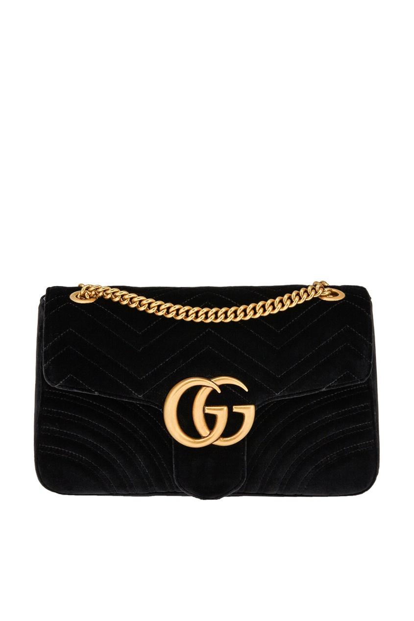 Купить Бархатная сумка GG Marmont от Gucci черного цвета