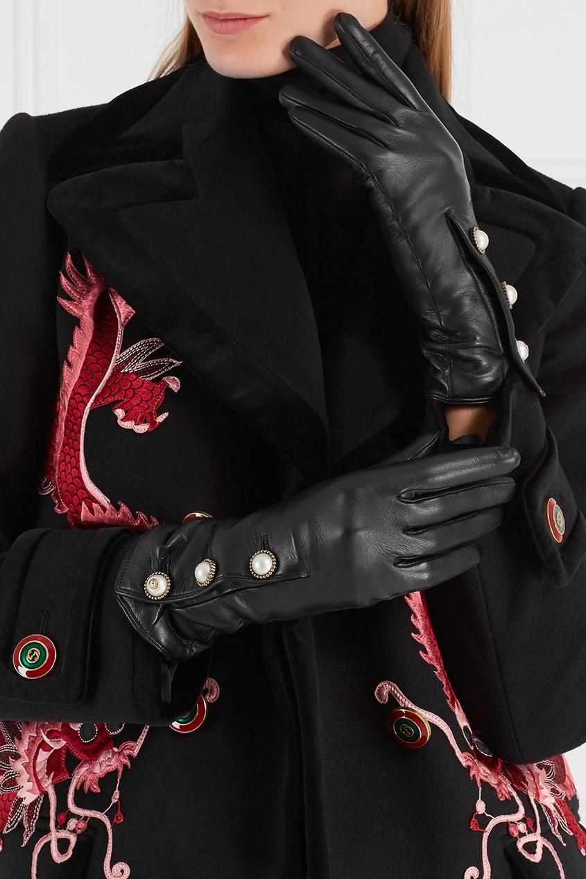купить Gucci Кожаные перчатки дешево