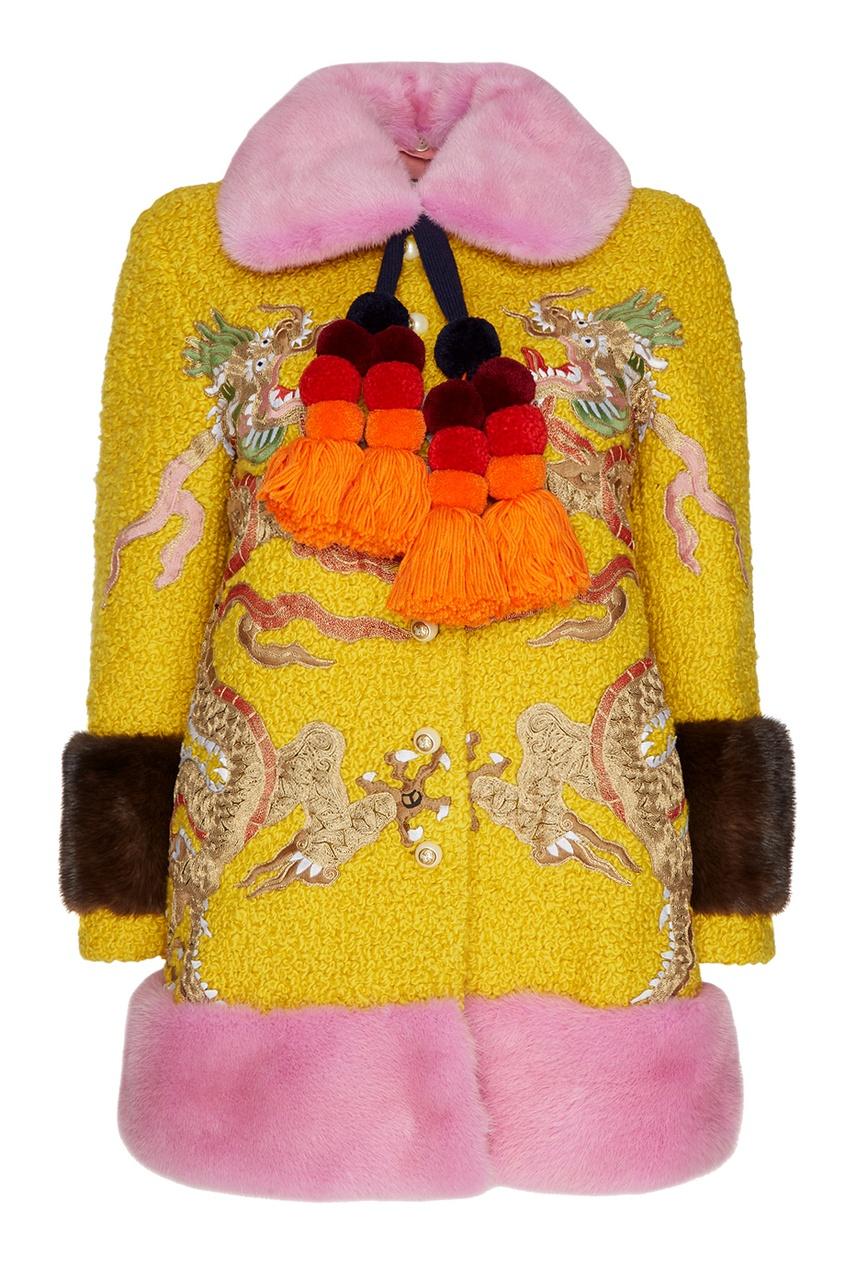 Gucci Шерстяное пальто с отделкой из меха норки gucci шерстяное платье