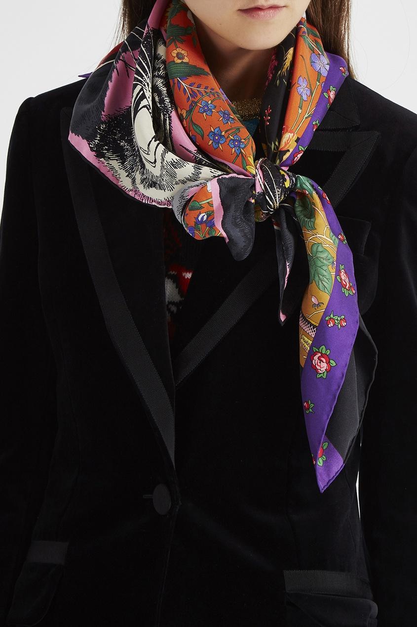 Шелковый платок с комбинированным принтом