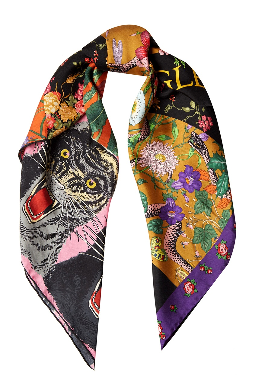 Купить со скидкой Шелковый платок с комбинированным принтом