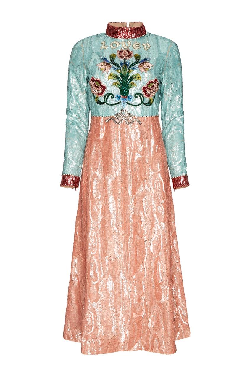 Gucci Платье с пайетками gucci кольцо с жемчужными бусинами