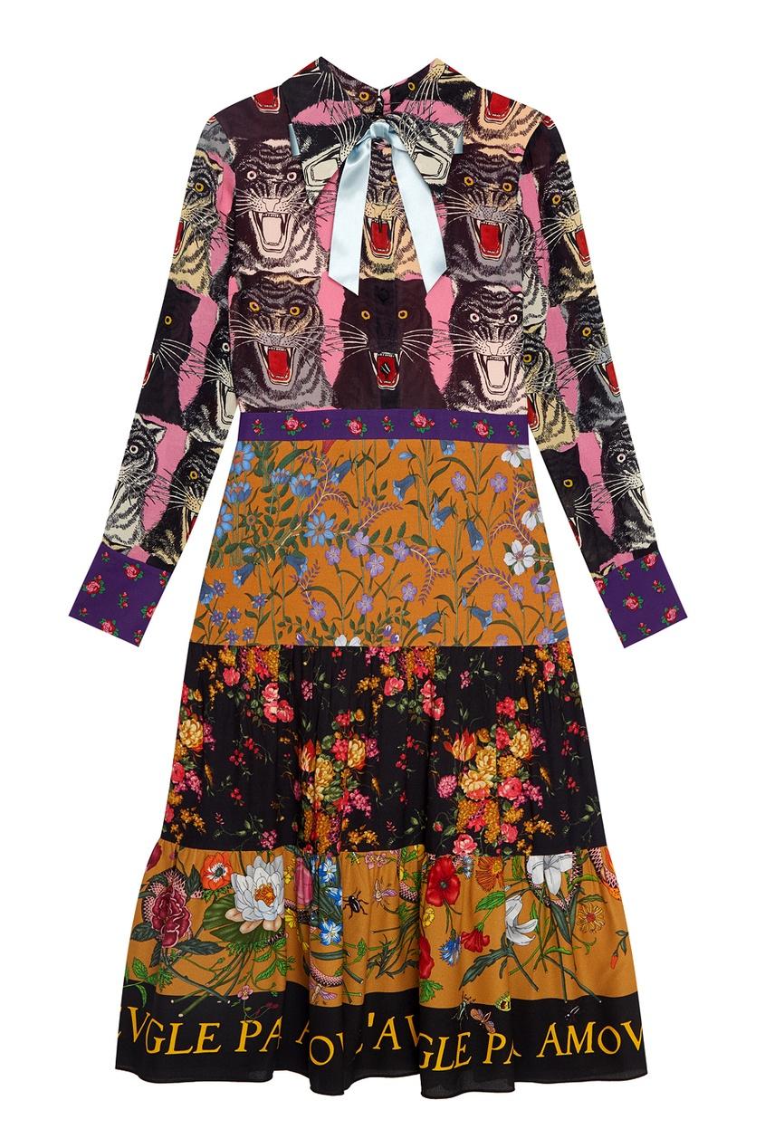 Gucci Платье с принтом gucci шерстяное платье