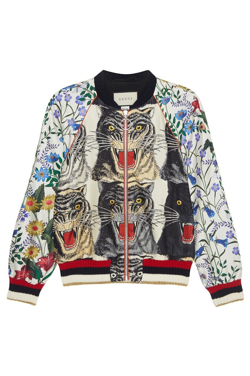 Gucci Шелковый бомбер бомбер printio мода 2017