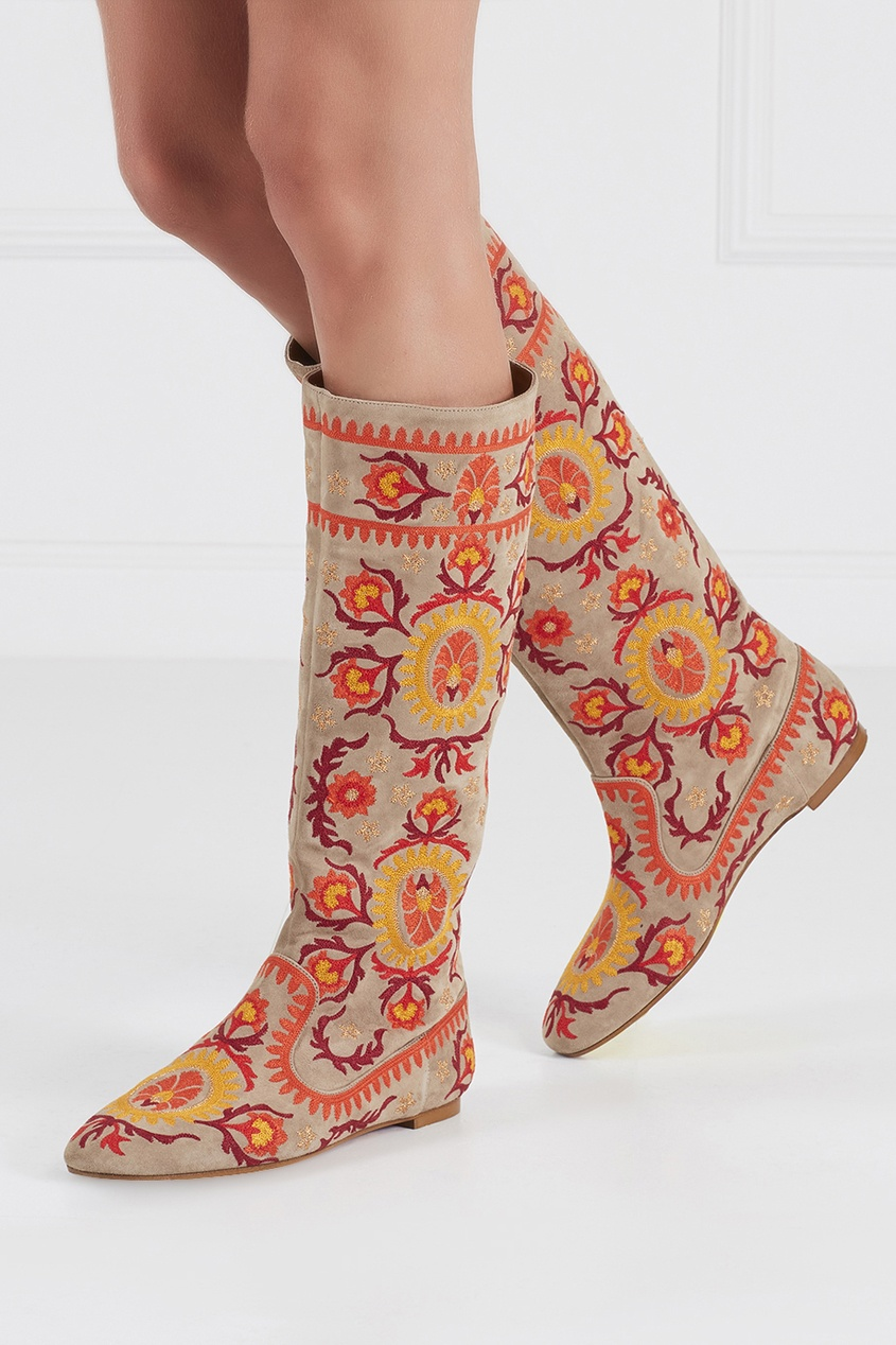 Замшевые сапоги Suzani Boot Flat Aquazzura Multicolor 97555342