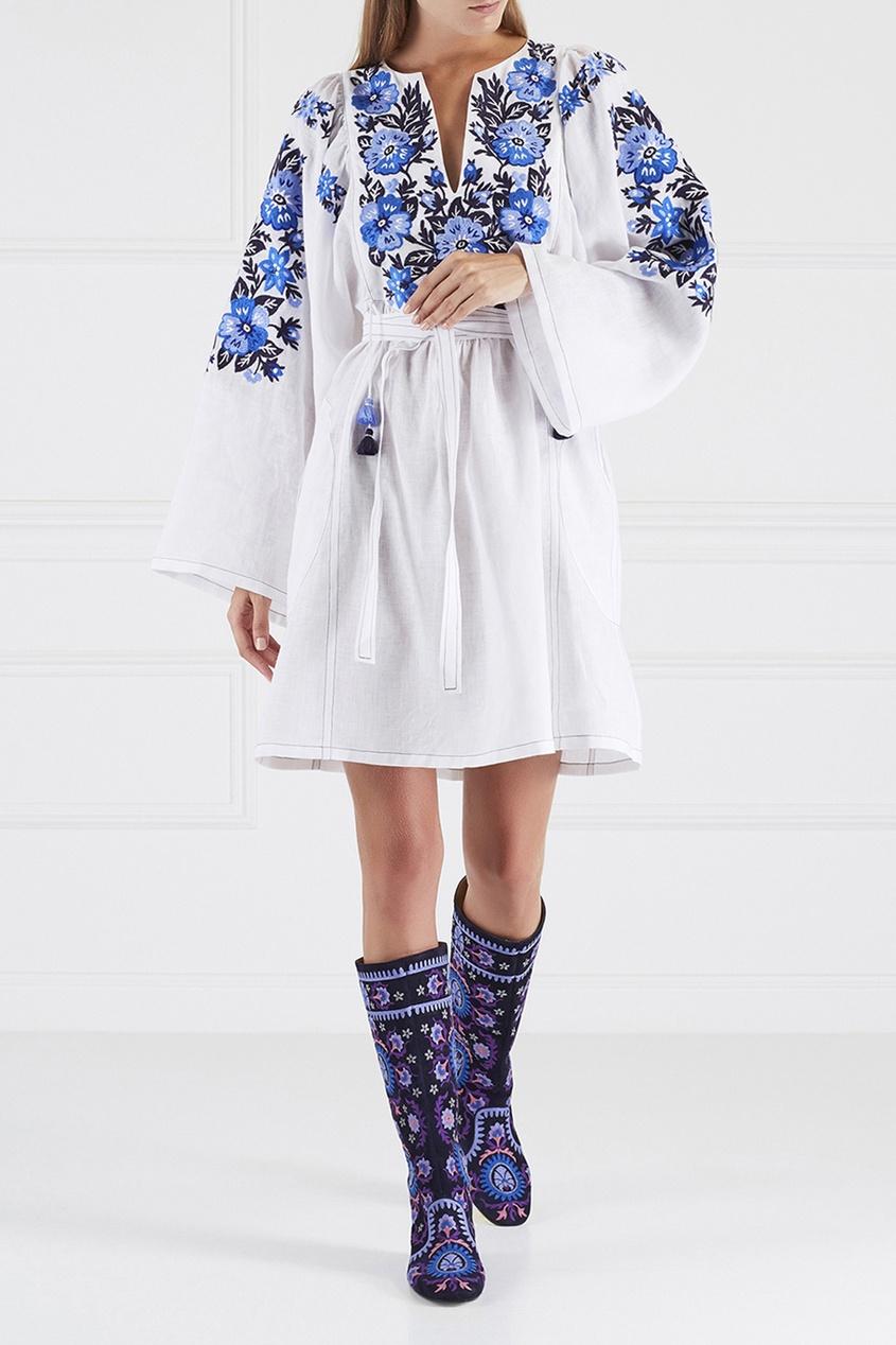 Замшевые сапоги синего цвета Suzani Boot Flat Aquazzura синий 97555376