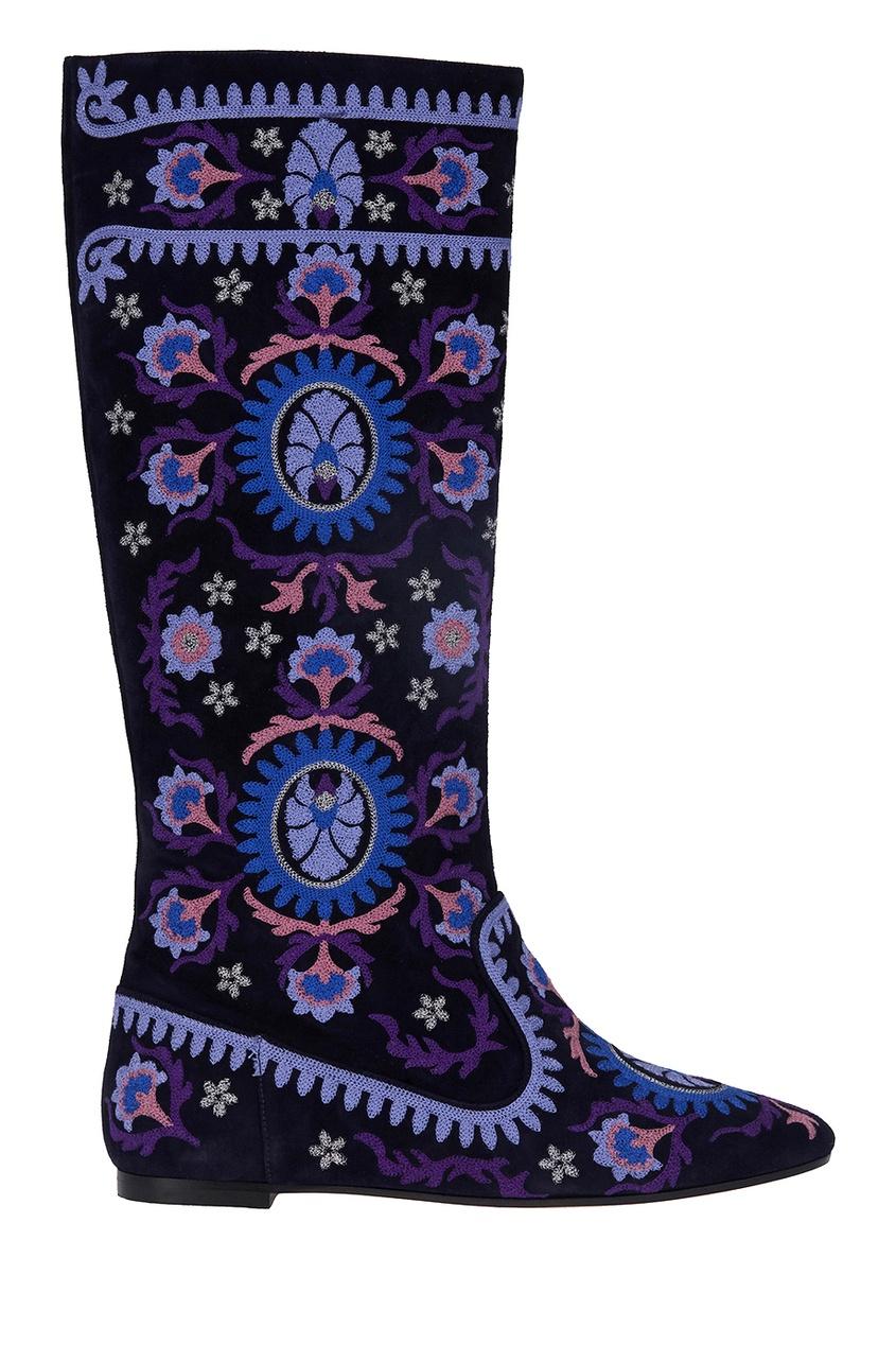 Замшевые сапоги синего цвета Suzani Boot Flat