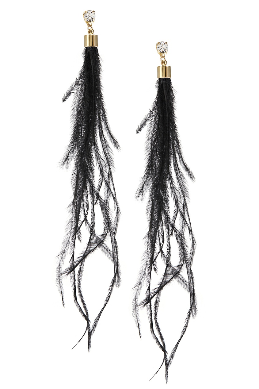 Серьги с перьями павлина